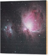 The Orion And The Running Man Nebulae Wood Print
