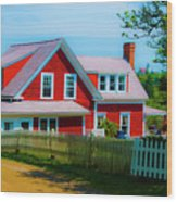 The Other Red House Monhegan Wood Print