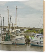 The Paddler Tybee Island Shrimp Boats Wood Print