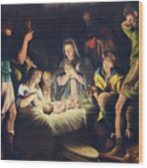 The Painting Of Nativity By Pier Maria Bagnadore Wood Print