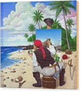 The Painting Pirate Wood Print