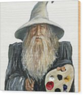 The Painting Wizard Wood Print