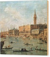 The Palace And The Molo From The Basin Of San Marco Wood Print