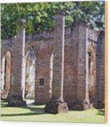 The Palmetto Phoenix Old Sheldon Church Ruins Wood Print by Elena Tudor