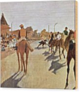 The Parade, Digitally Enhanced Highest Resolution,race Horses In Front Of The Tribune, Edgar Degas Wood Print