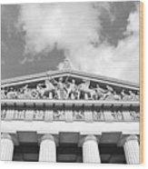 The Parthenon In Nashville Tennessee Black And White 2 Wood Print