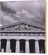 The Parthenon In Nashville Tennessee Black And White Wood Print