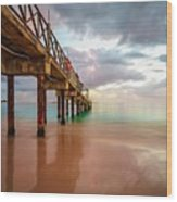 The Pastel Sky And The Jetty Wood Print