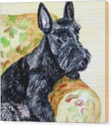 The Perfect Guest - Scottish Terrier Wood Print by Lyn Cook