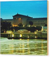 The Philadelphia Art Museum And Waterworks At Night Wood Print