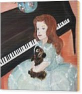 The Pianist And Her Pekinese Wood Print