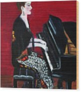 The Pianist Wood Print by Pilar  Martinez-Byrne