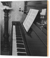 The Piano - Black And White Wood Print
