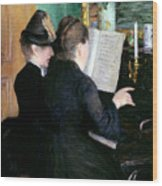 The Piano Lesson Wood Print by Gustave Caillebotte