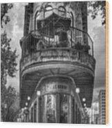 The Pickle Barrel 3 B W Flatiron Architecture Chattanooga Tennessee Art Wood Print