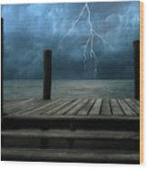 The Pier And The Storm Wood Print