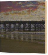 The Pier At Sunset Wood Print