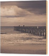 The Pier Before The Storm Wood Print