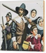 The Pilgrim Fathers Arrive In America Wood Print
