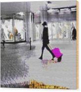 The Pink Bag Wood Print
