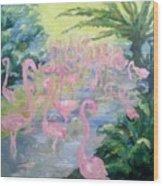 The Pink Pond Of Flamingos Wood Print