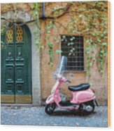 The Pink Vespa Wood Print