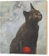 The Pious Cat Wood Print