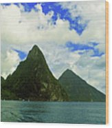 The Pitons Wood Print