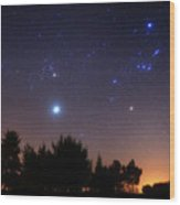 The Pleiades, Taurus And Orion Wood Print