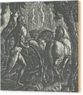 The Ploughman Christian Ploughing The Last Furrow Of Life Wood Print