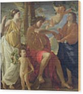 The Poets Inspiration Wood Print by Nicolas Poussin