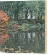 The Pond In Central Park In Fall Wood Print