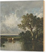 The Pond With Oaks Wood Print