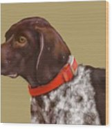 The Pooch With A Red Collar Wood Print