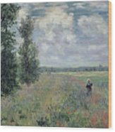 The Poppy Field Wood Print by Claude Monet