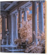 The Porch Of The European Collection Art Gallery At The Huntington Library In Infrared Wood Print