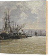 The Port Of Rouen Wood Print