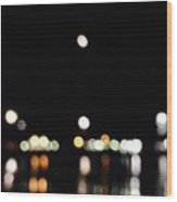 The Port, The Lights, And The Moon Wood Print