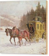 The Post Coach In The Snow Wood Print by Fritz van der Venne