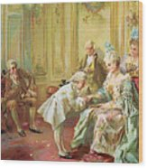 The Presentation Of The Young Mozart To Mme De Pompadour At Versailles Wood Print