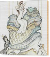 The Princess And The Pea, Illustration For Classic Fairy Tale Wood Print