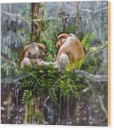 The Probosis Monkey Family Wood Print