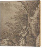 The Prodigal Son Kneeling Repentant Among Swine Wood Print