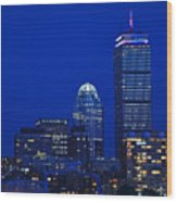 The Pru Lit Up In Red White And Blue For The Fourth Of July Wood Print