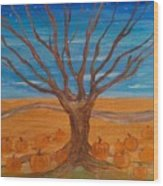 The Pumpkin Tree Wood Print by Dawn Vagts