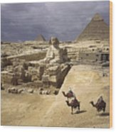 The Pyramids Of Giza And The Great Wood Print by B. Anthony Stewart