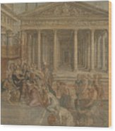 The Queen Of Sheba Before King Solomon Wood Print