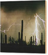 The Quiet Southwest Desert Lightning Storm Wood Print