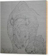 The Raging Rhino Wood Print