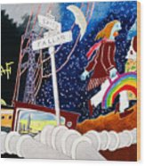 The Rainbow Family Moved Away Wood Print